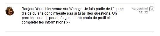 message de bienvenue sur woozgo