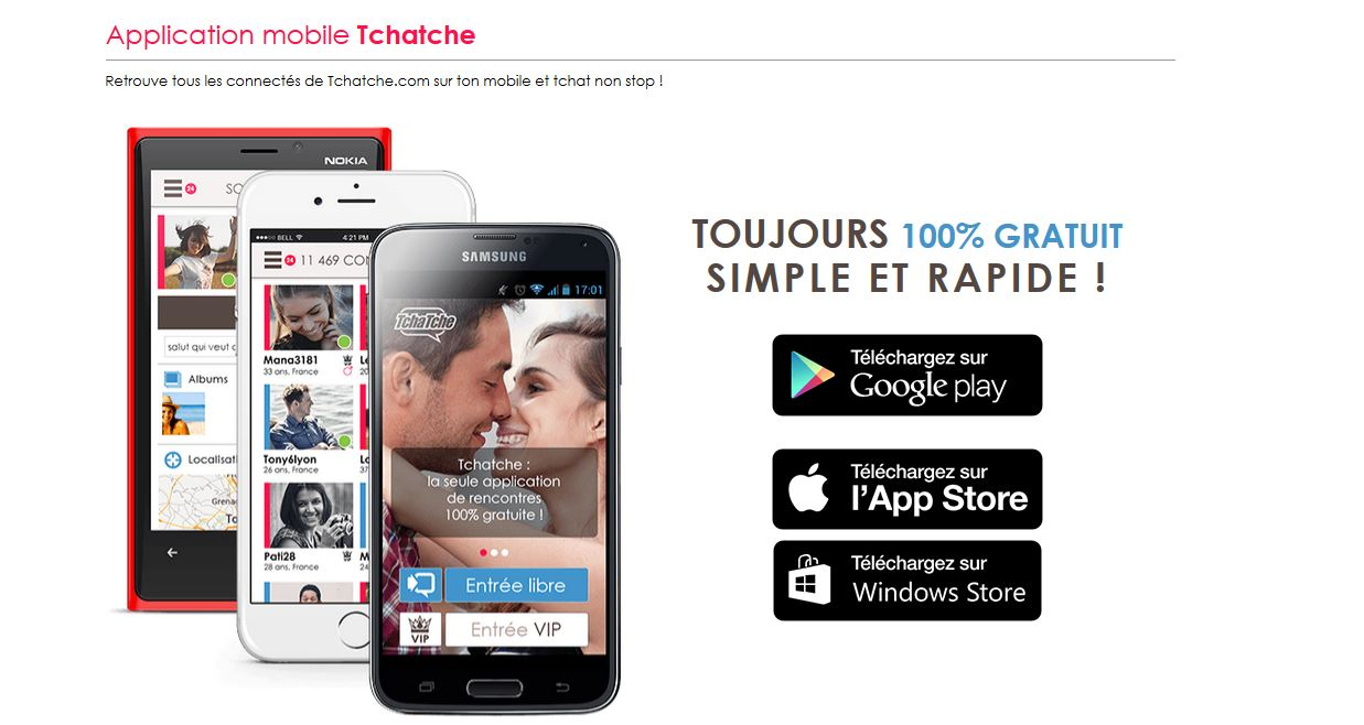 tchatche - application mobile