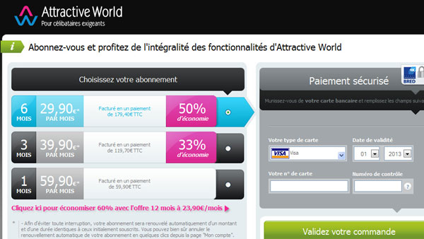 Tarifs & Abonnements - Attractive World