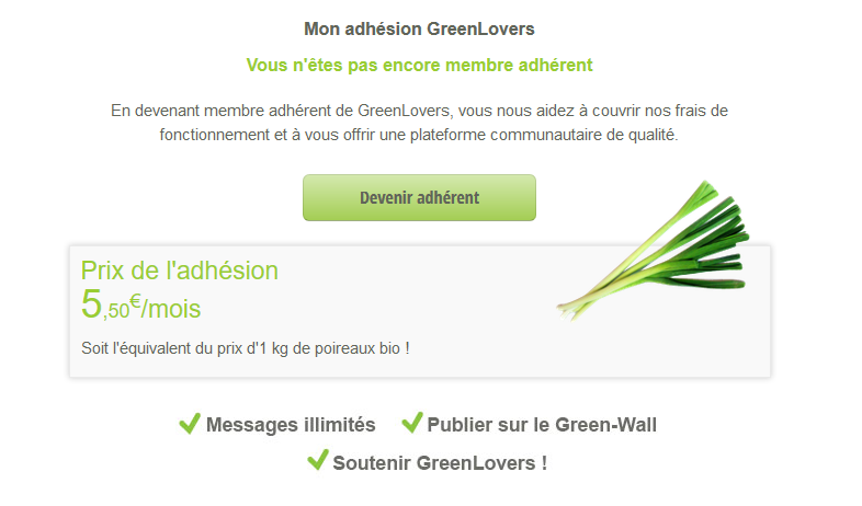 Tarifs & Abonnements - MyGreenLovers