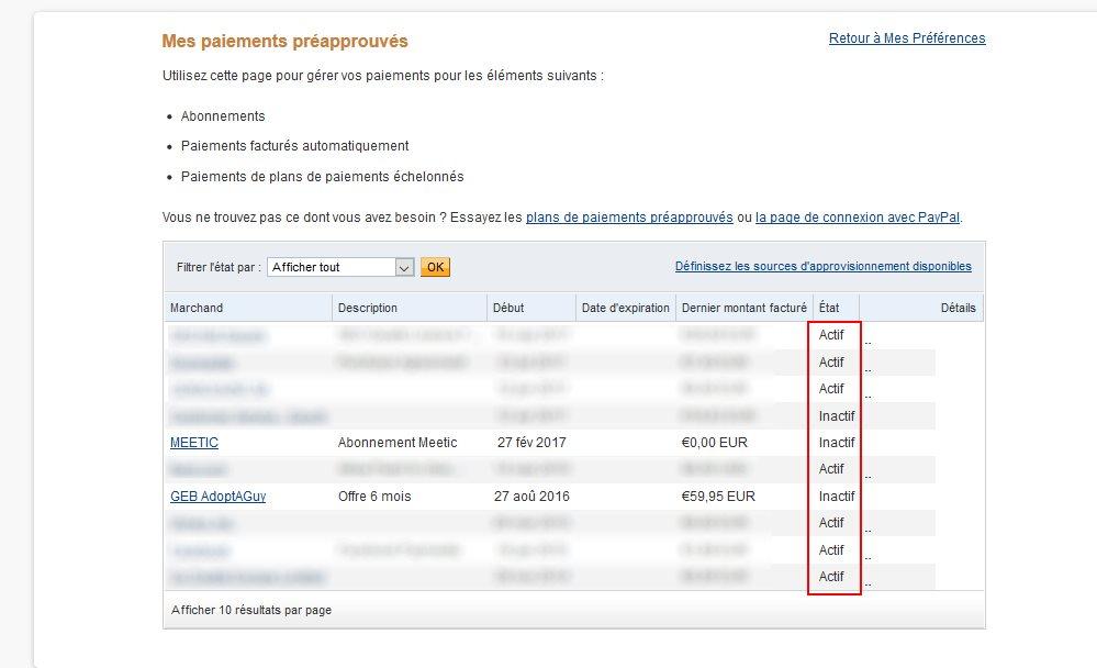 abonnement renouvellement automatique paypal