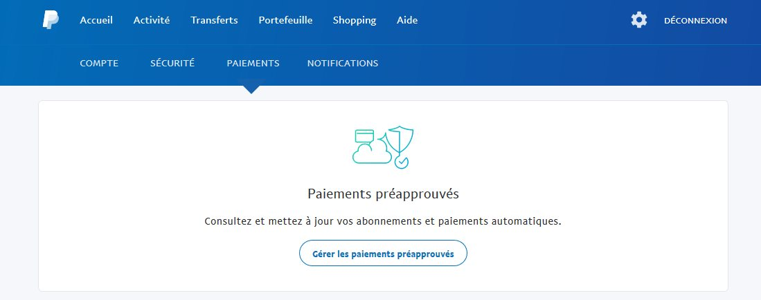 paiement preapprouves paypal